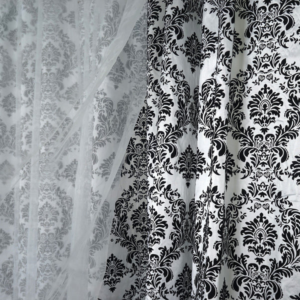20FTx10FT Dual Layer Chiffon Taffeta Damask Flocking Photography Backdrop - Black/White