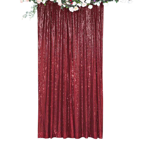 8Ft H x 8Ft W Burgundy Sequin Curtains, Photo Booth Backdrop with Rod Pocket