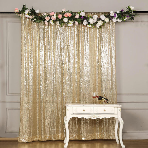8Ft H x 8Ft W Champagne Sequin Curtains, Photo Booth Backdrop with Rod Pocket
