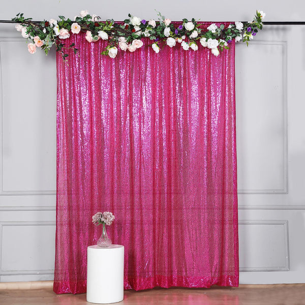 8Ft H x 8Ft W Fushia Sequin Curtains, Photo Booth Backdrop with Rod Pocket