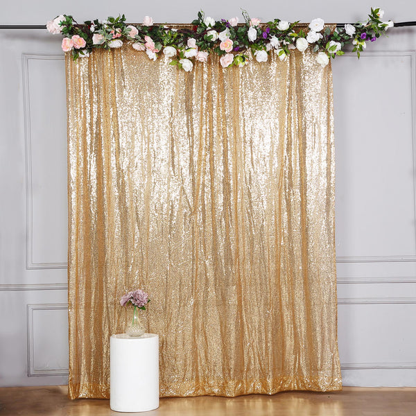 8Ft H x 8Ft W Gold Sequin Curtains, Photo Booth Backdrop with Rod Pocket