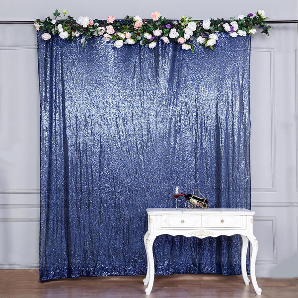 8Ft H x 8Ft W Navy Blue Sequin Curtains, Photo Booth Backdrop with Rod Pocket