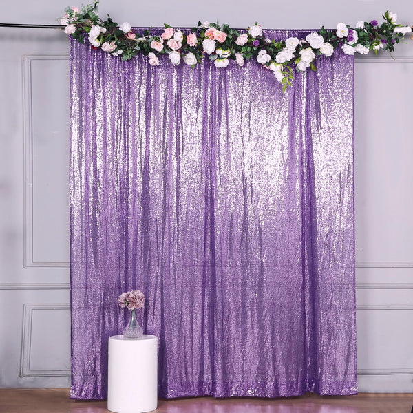 8Ft H x 8Ft W Purple Sequin Curtains, Photo Booth Backdrop with Rod Pocket