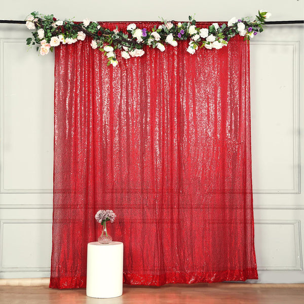 8Ft H x 8Ft W Red Sequin Curtains, Photo Booth Backdrop with Rod Pocket