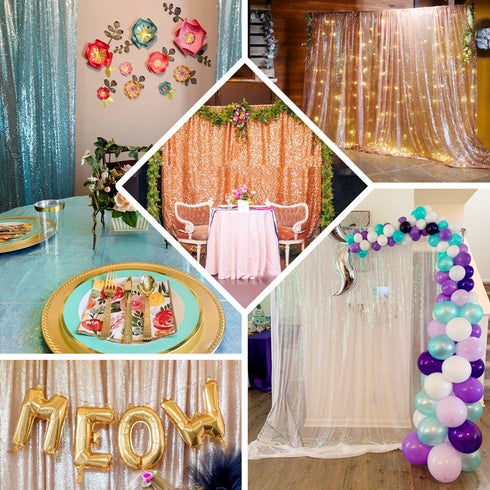 8Ft H x 8Ft W Sequin Curtains, Photo Booth Backdrop with Rod Pocket - Rose Gold/Blush