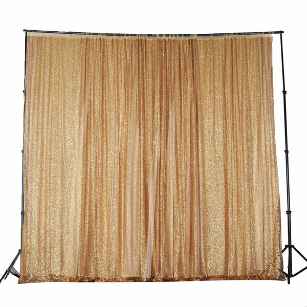 20Ft x 10Ft Premium Gold Sequin Backdrop Curtain Double Layered With Chiffon