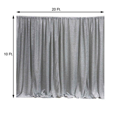 20FT x 10FT Silver Metallic Shiny Spandex Glittering Backdrop