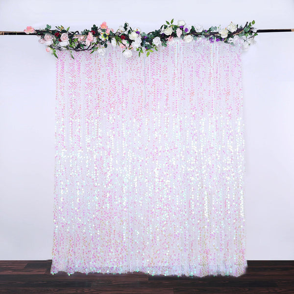8Ft x 8Ft Iridescent Big Payette Sequin Curtains, Photo Booth Backdrop With Rod Pocket