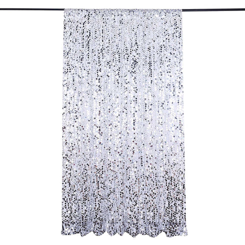 8Ft x 8Ft Silver Big Payette Sequin Curtains, Photo Booth Backdrop With Rod Pocket