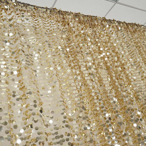 20FT x 10FT Champagne Big Payette Sequin Backdrop Curtain