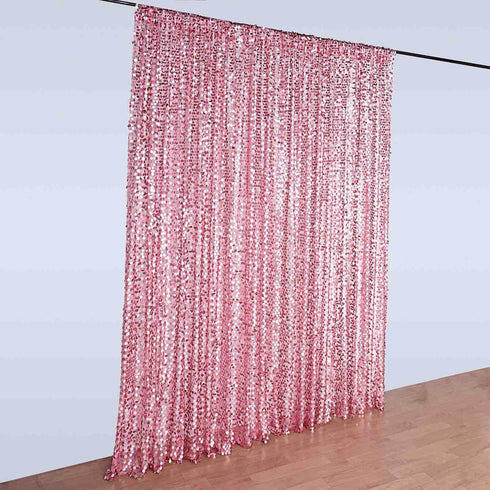 20FT x 10FT Matte Pink Big Payette Sequin Backdrop Curtain