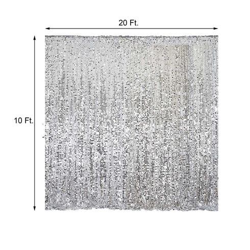 20FT x 10FT Silver Big Payette Sequin Backdrop Curtain