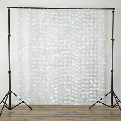 ... 6FT White Dazzling Metallic Foil Flower Backdrop Decor; Flower Garland  Backdrop   White   6ftx6ft ...