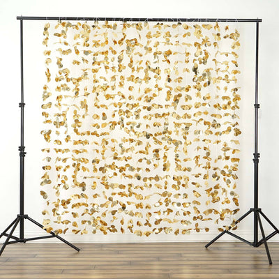 Dazzling Metallic Foil Flower Wedding Backdrop- Gold- 6ftx6ft
