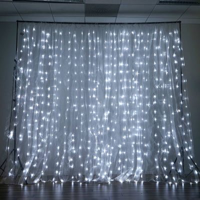600 LED Lights BIG Wedding Party Photography Organza Curtain Backdrop - White - 20FT x 10FT