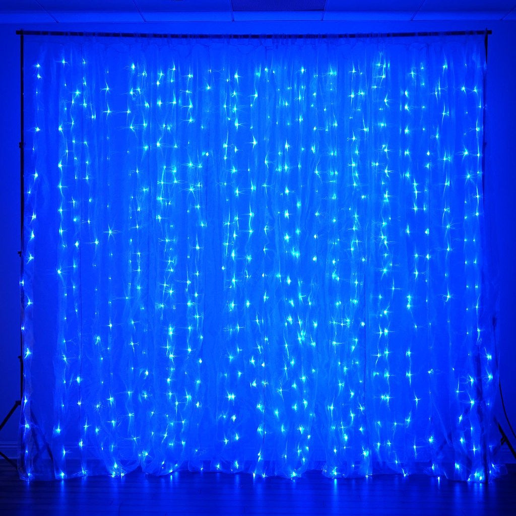 Blue curtain backdrop - 600 Led Lights Big Wedding Party Photography Organza Curtain Backdrop Blue 20ft X 10ft