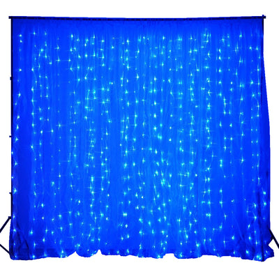20FT x 10FT | 600 Sequential Blue LED Lights BIG Photography Organza Curtain Backdrop