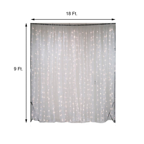 18FT x 9FT | 600 Sequential White LED Lights BIG Photography Organza Curtain Backdrop
