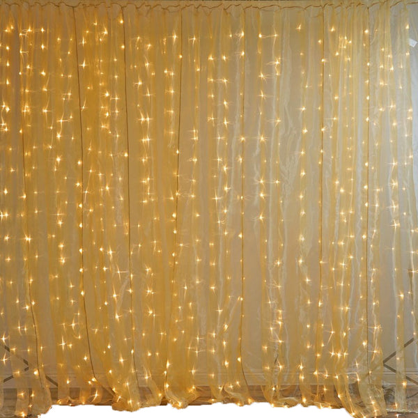 20FT x 10FT | 600 Sequential Gold LED Lights BIG Photography Organza Curtain Backdrop