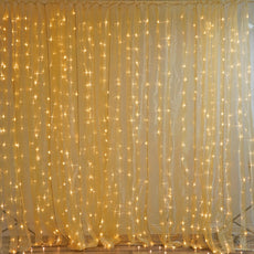 600 White LED Lights BIG Wedding Party Photography Organza Gold Curtain Backdrop - 20FT x 10FT