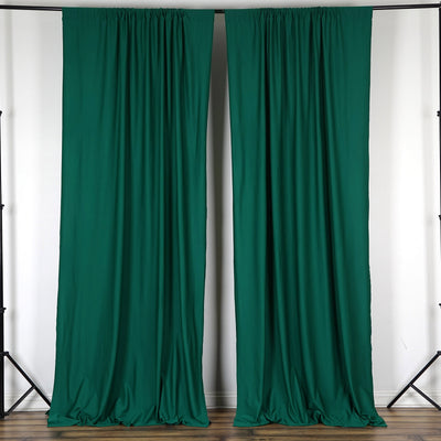Set Of 2 Hunter Green Fire Retardant Polyester Curtain Panel Backdrops With Rod Pockets - 5FTx10FT