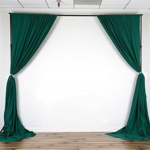 Set Of 2 Hunter Green Fire Retardant Polyester Curtain Panel Backdrops Window Treatment With Rod Pockets - 5FTx10FT
