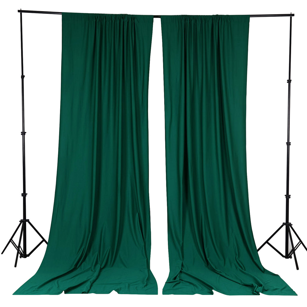 10FT Hunter Green Scuba Polyester Wrinkle Free Curtain Stage Backdrop Partition - Premium Collection