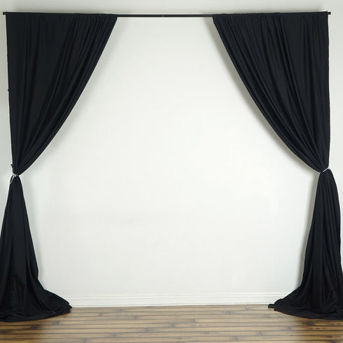 10FT Black Scuba Polyester Wrinkle Free Curtain Stage Backdrop Partition - Premium Collection