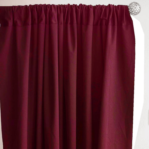 Set Of 2 Burgundy Fire Retardant Polyester Curtain Panel Backdrops With Rod Pockets - 5FTx10FT