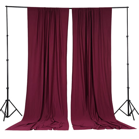 10FT Burgundy Polyester Fire Retardant Curtain Stage Backdrop Partition - Premium Collection