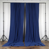Set Of 2 Navy Blue Fire Retardant Polyester Curtain Panel Backdrops With Rod Pockets - 5FTx10FT