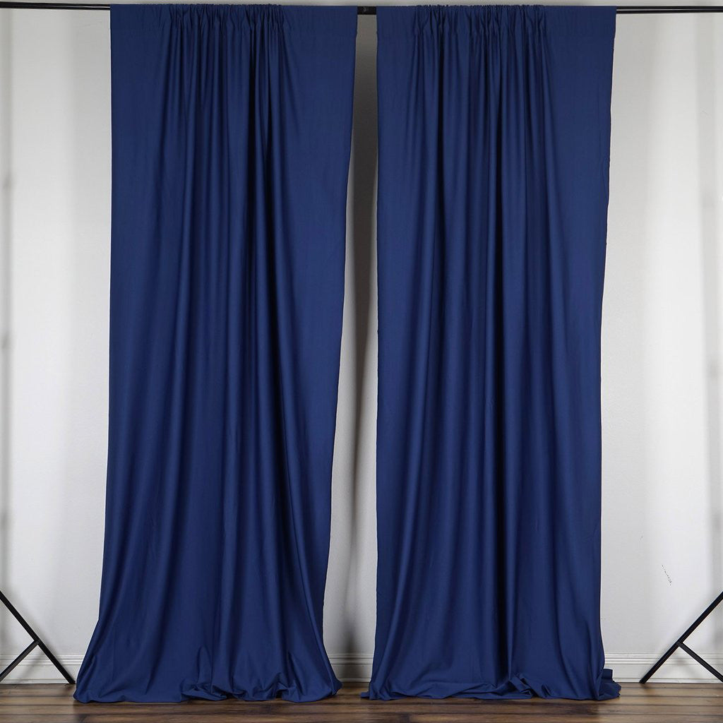 Cobalt blue curtain panels -  Set Of 2 Navy Blue Fire Retardant Polyester Curtain Panel Backdrops Window Treatment With Rod Pockets