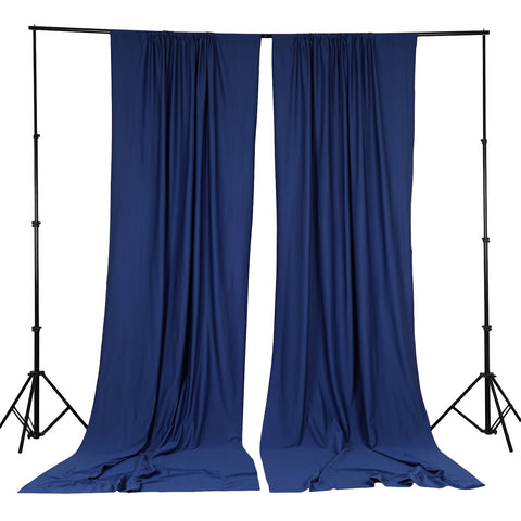 10FT Navy Scuba Polyester Wrinkle Free Curtain Stage Backdrop Partition - Premium Collection