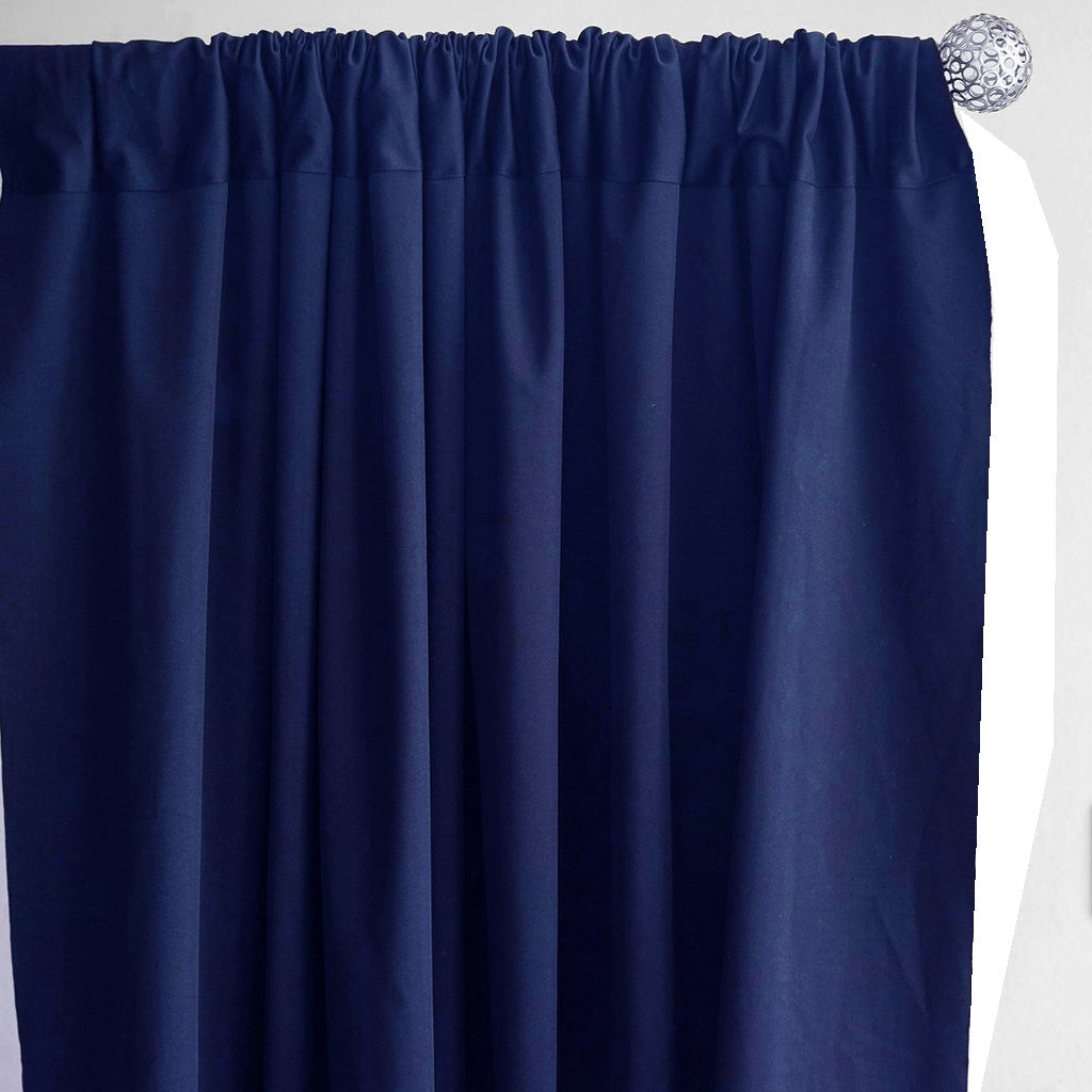Set Of 2 Navy Blue Fire Retardant Polyester Curtain Panel Backdrops With Rod Pockets