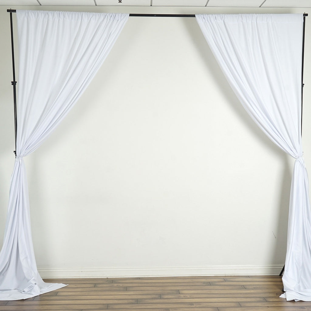 10FT White Scuba Polyester Wrinkle Free Curtain Stage Backdrop Partition - Premium Collection