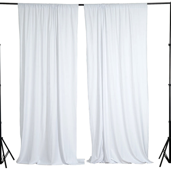 Pack of 2 | 5FTx10FT White Fire Retardant Polyester Curtain Panel Backdrops With Rod Pockets