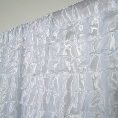20ft x 10ft Flamenca Satin Ruffle Backdrop - White