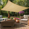 12FT x 16FT Tan Rectangle Sun Shade Sail, UV Block Canopy For Outdoor Patio Backyard