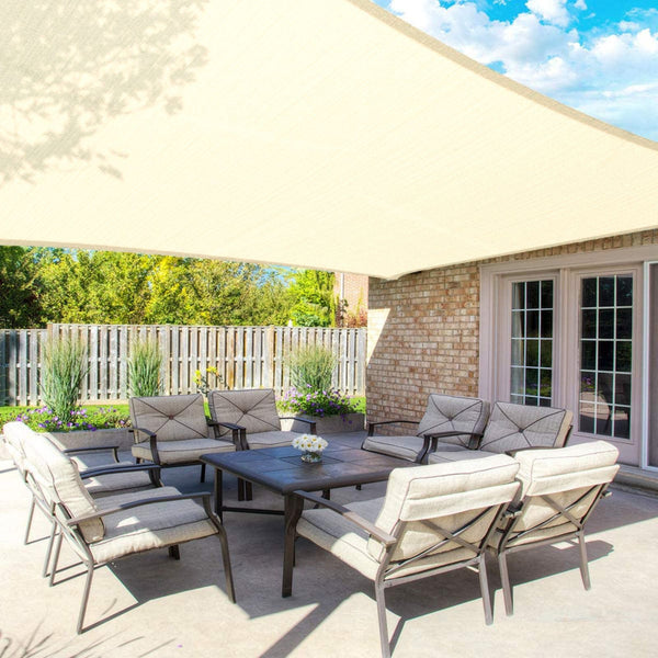 8FT x 10FT Ivory Rectangle Sun Shade Sail, UV Block Canopy For Outdoor Patio Backyard