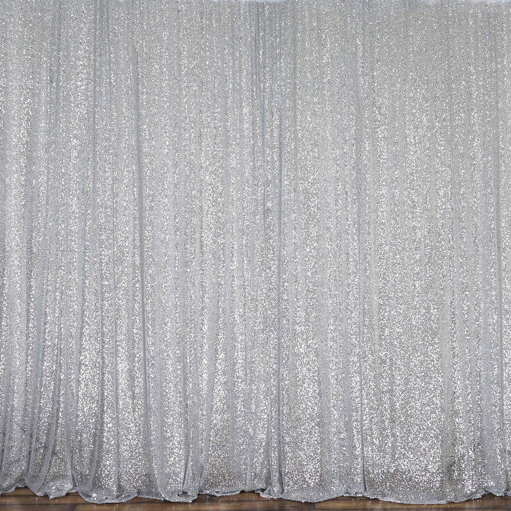 20ft Premium Silver Sequin Backdrop For Party Event