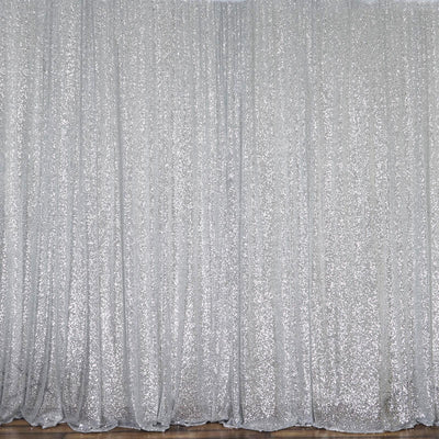 20Ft x 10Ft Silver Sequin Backdrop Curtain