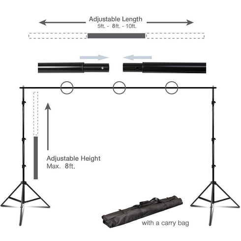 10Ft Height Adjustable Photo Video Studio Muslin Background Backdrop Support System Stand - With Free Backdrops