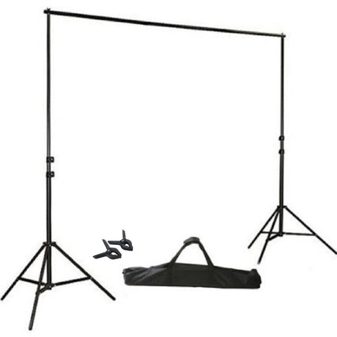10FT Height Adjustable Photo Video Studio Crossbar Kit Background Backdrop Support System Stand with FREE Clips