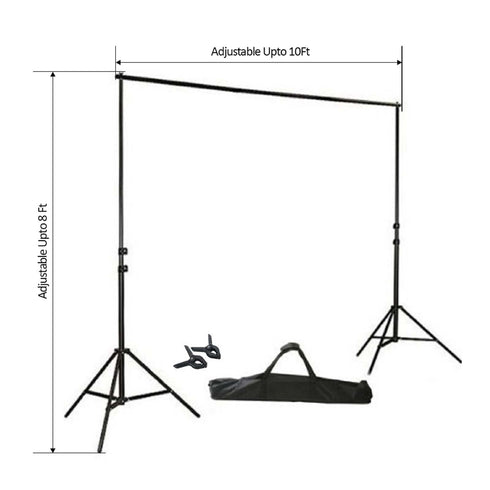 8FT Height Adjustable Crossbar Kit Backdrop Support System Stand with FREE Clips