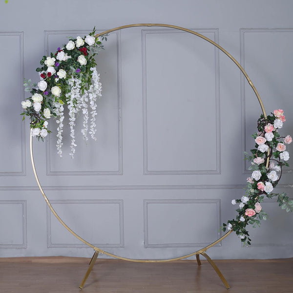 7FT Tall - Gold Round Metal Wedding Arch, Photo Booth Backdrop Stand