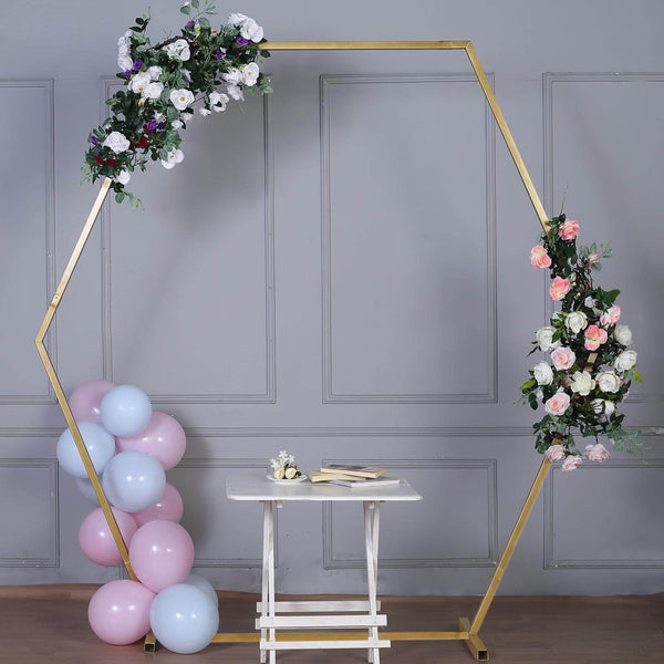 8FT Tall - Gold Hexagonal Metal Wedding Arch, Photo Booth Backdrop Stand