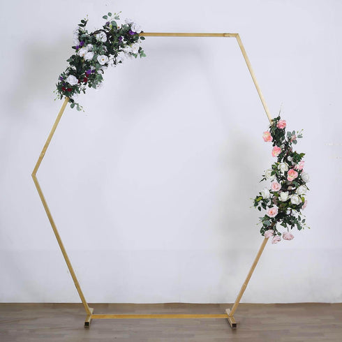 TFCFL Flower Stand for Wedding Wedding Props Hexagonal Wrought Iron Arch Frame Background Decoration Stage White Suitable for Indoor Outdoor Party