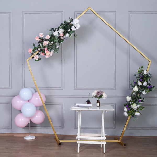 8FT Tall - Gold Pentagonal Metal Wedding Arch, Photo Booth Backdrop Stand