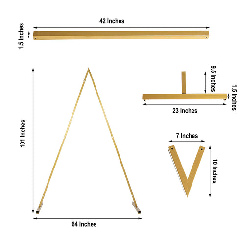 8 Ft Tall - Gold Triangular Metal Wedding Arch, Photo Booth Backdrop Stand