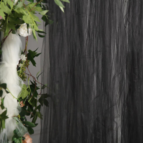 5 FT x 10 FT - Double Sided Tulle Backdrop Sheer Curtain Panels with Satin Rod Pockets - Black